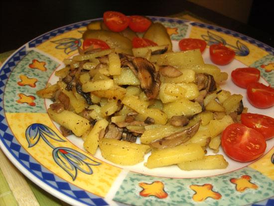 Жареная картошка с шампиньонами рецепты с фото